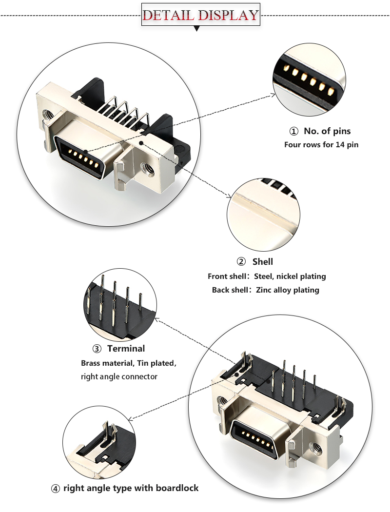 Detailed images of CN 14 pin scsi connector pinout