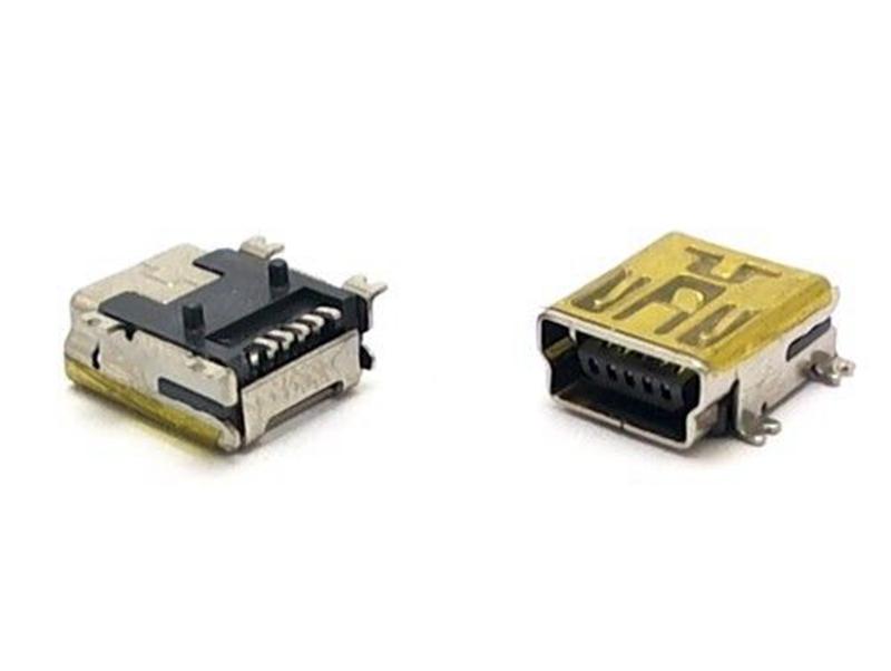 USB Mini B  5 Pin USB Mini B Gold Plated Female Right-Angle