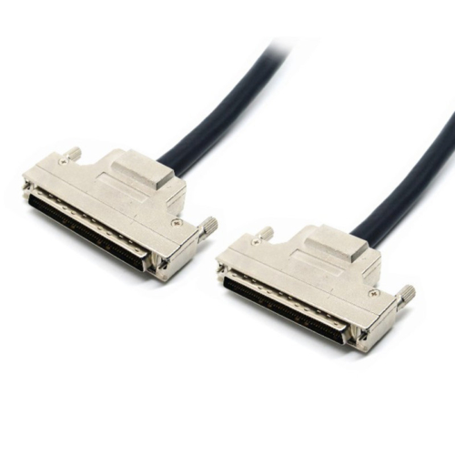 high quanlity 100pin male scsi ssd hard drive cable assembly with metal hoods